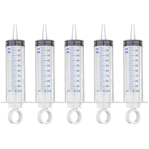 Syringe 100ml Without Needle Plastic Hydroponics Nutrient Measuring Syringe & Reusable Syringe for Scientific Labs (5)