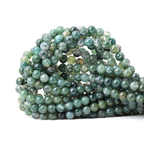 CHEAVIAN 60PCS 6mm Natural Moss Agate Gemstone Round Loose Beads for Jewelry Making DIY 1 Strand 15