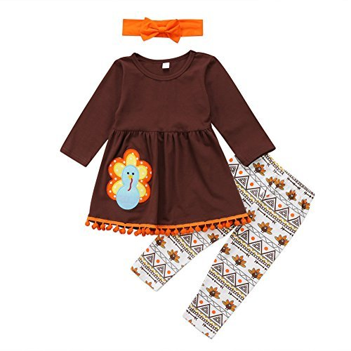 (3Pcs Kids Toddler Baby Girls Turkey T-shirt Top Dress+Pants+Headband Thanksgiving Outfit Clothes Set (2-3 Years,)