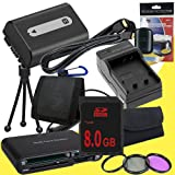 NPFH50 Lithium Ion Replacement Battery w/Charger + 8GB SDHC Memory Card + Mini HDMI + 3 Piece Filter Kit + Mini HDMI + USB SD Memory Card Reader /Wallet + Deluxe Starter Kit for Sony DCRDVD508, DCRDVD408, DCRDVD308, DCRDVD108, DCRDVD505, DCRDVD405, DCRDVD