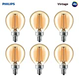 Philips LED Dimmable G16.5 Vintage Amber Glass Globe Light Bulb: 300-Lumen, 2200-Kelvin, 4.5-Watt (40-Watt Equivalent), E12 Candelabra Base, Amber, 6-Pack