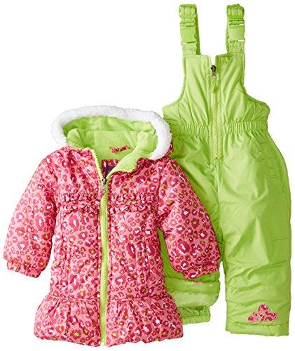 Pink Platinum Baby Girls' All Over Cheetah Snowsuit, Pink, 12 Months