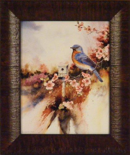 Wall Bluebird (A Welcome Visitor by Michael Capser 11x13 Bluebird Blue Bird House Song Framed Art Print Wall Décor Picture)