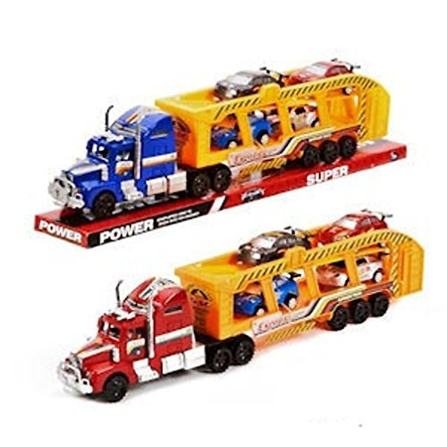 Friction Powered Semis Truck with four Sports Cars Toy:85