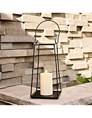 Black Metal Candle Lantern - Decorative Lanterns with LED Flameless Candles, Battery Operated, Open (No Glass) Waterproof for Outdoor Porch or Patio Décor, Available in Two Sizes
