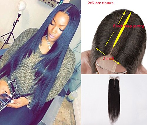 Persephone Brazilian Deep Part 2x6 Lace Closure Silky Straight Human Hair Lace Frontal Closure 12 inch