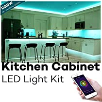 Kitchen Cabinet Lighting, Megulla Smart Wifi RGBW LED Light Strip with Timer and Dimmer, 59inch, IP65 Waterproof, Power Adapter(12V, 2A), APP Control by Smart Phone, Works with Alexa and GoogleHome