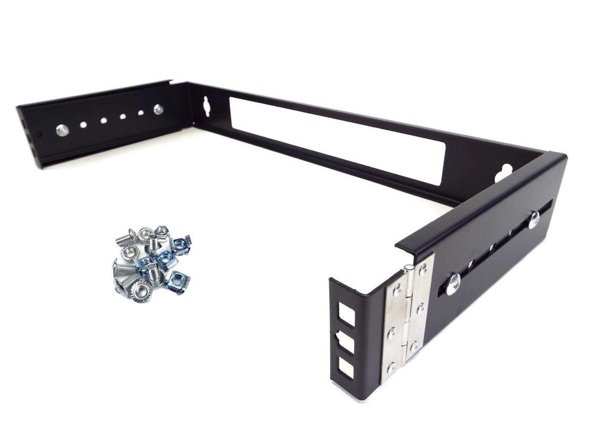 CNAWEB 1U 19-Inch Hinged Extendable Wall Mount Bracket Network Equipment Rack - Black