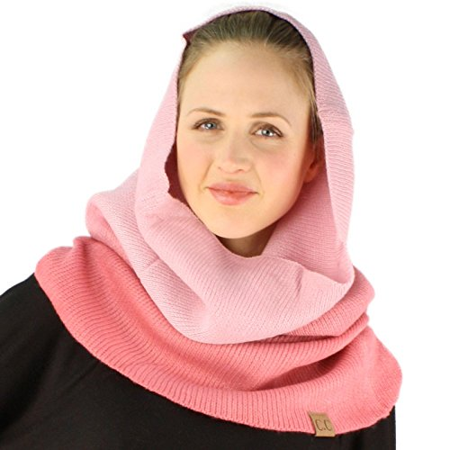 Winter Ombre Soft Pullover Knit Single Loop Tube Infinity Hood Cowl Scarf Pink (Cowl Knit Scarf)