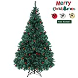 6ft Artificial Christmas Tree Xmas Pine Tree Decorated with Pine Cones, Red Berries, Baubles for Indoor and Outdoor, House, Office, School(6FT)