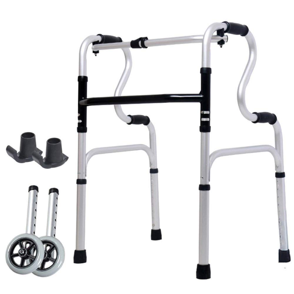 MU-WALKER Folding Lightweight Aluminium Walking Frame with Wheels, Limited Mobility Aid Height Adjustable Handle oO (Size : with casters)