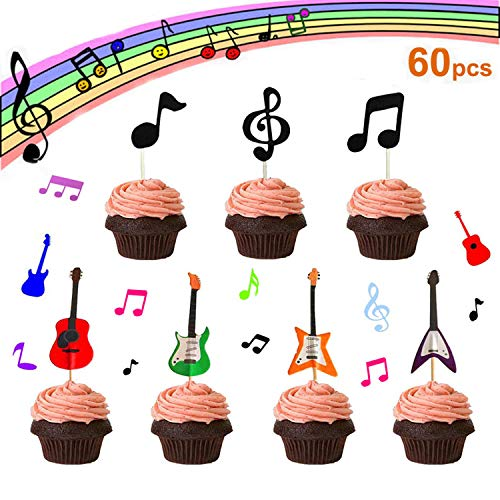 - 【Set of 60】- Music Notes Cupcake Topper, Rock Guitar Cupcake Topper, Music Notes Decorations Party Supplies Birthday Cake Decorating Tools Baby Showers Party