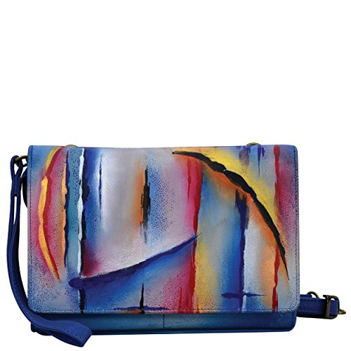 (Anuschka Hand Painted Designer Leather Purse for Women-Christmas gifts for women- Ladies Wallet/Wristlet Clutch (Northern Skies 1128 NSK))