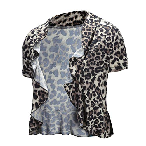 - UUANG Womens Open Front Ruffle Cardigan Short Sleeve Lightweight Cropped Bolero Shrug (Leopard Print, X-Large)