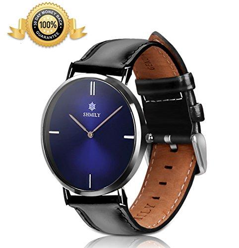 Mens & Women's Quartz Watches 50M/5ATM/165ft Waterproof 100% Calf Leather Band Gradient Dark Blue Color Dial Classical Simple Fashion SHMILY SK006 - Blue Dark Gradient