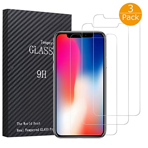 (iPhone Xs/X Glass Screen Protectors, BYZ1 iPhone Xs/X Tempered Glass Screen Protector [3D Touch] [9H Hardness] [No Bubble] Compatible with iPhone Xs/X 3 Pack)