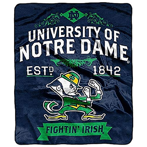 The Northwest Company NCAA Notre Dame Fighting Irish Label Raschel Throw Blanket, 50