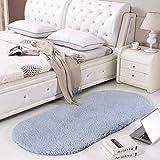 Rug WAN SAN QIAN Bedside Blanket Oval Carpet Simple Style Lambskin Solid Color Bedroom Carpet (Color : B, Size : 60x200cm)