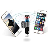 HyRich Q10 Mini Car Headset Ear-bud Bluetooth Wireless Headphone With Car Charger 2 IN 1 Hands-Free Mic Kit Paired with two smartphones for iPhone IOS Android Smartphone