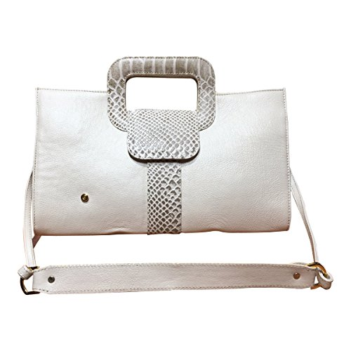 Gaspy Elena Women's Formal Evening Handbag, 100 Percent Colombian Leather (Beige, Smooth Leather with Anaconda Pattern) by Gaspy