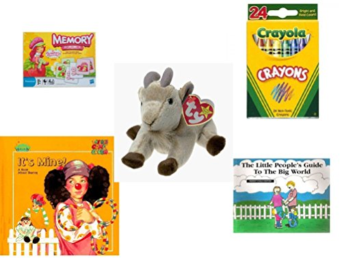 Children's Gift Bundle - Ages 3-5 [5 Piece] - Strawberry Shortcake Edition Memory Game - Crayola Crayons 24 Count Toy - TY Beanie Baby - Goatee The Goat - It's -