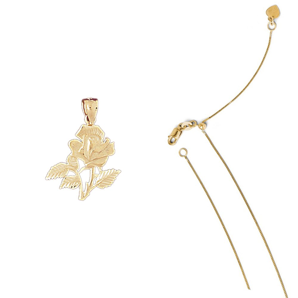 14K Yellow Gold Rose Pendant on an Adjustable 14K Yellow Gold Chain Necklace