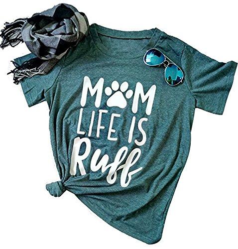 Mom Life is Ruff T-Shirt Women's Funny Dog Paw O Neck Short Sleeve Tops Blouse Size US M/Tag L
