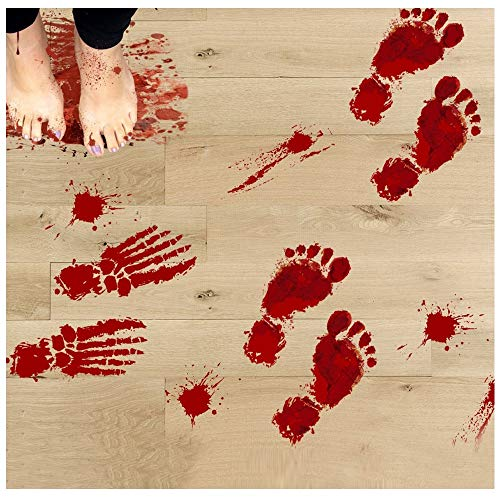 Hometom Bloody Footprints Floor Clings Halloween Vampire Zombie Party Decors Decals Stickers (4Pack)
