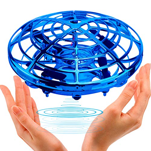 (UFO Flying Ball Toys,TURN RAISE Motion Hand-Controlled Suspension Helicopter ToyInfrared Induction Interactive Drone Indoor Flyer Toyswith 360°Rotating and Flashing LED Lightsfor Kids, Boys ,Girls)