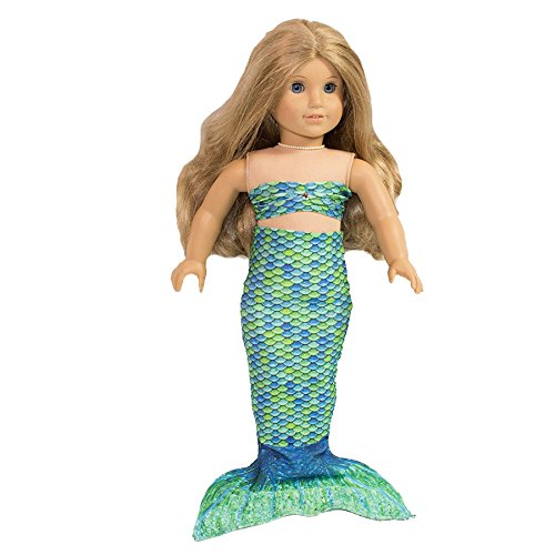 Fin Fun Mermaid Tail Outfit for 18 Inch Doll like American Girl - Zoey's Aussie Green