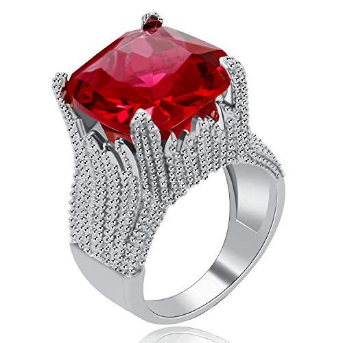 Uloveido Women White Gold Plated Flame Shape Super Big Square Red Cubic Zirconia Solitaire Ring Wedding Wide Band Enagagement Rings Promise Charm Christmas Birthday Gift for Her (Size 6) RA0414