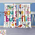 Philiphome 2 Panel Set Digital Printed Window Curtains,for Girls Bathroom Love Quote Hearts for Bedroom Living Room Dining Room
