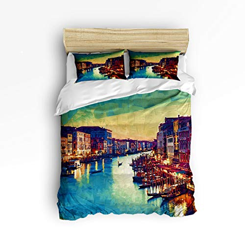 (KAROLA Duvet Cover Set, 3 Piece Hotel Luxury Hypoallergenic Microfiber Down Comforter Quilt Bedding Cover with Zipper, Ties,Oil Painting Venice Town Queen(90