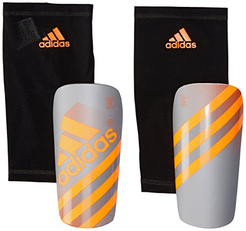 adidas Performance Ghost Shin Guards, Silver Metallic/Solar Orange, - Guard Shin Soccer
