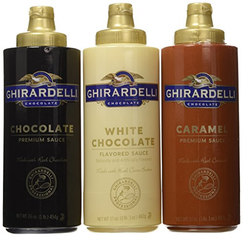 Ghirardelli Squeeze Bottles - Caramel, Chocolate & White Chocolate - Set of (Mini Milk Chocolate Bottle)