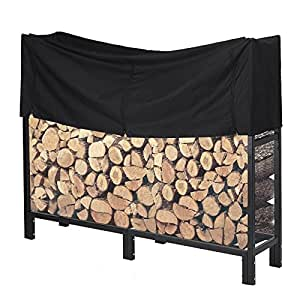 Pinty 5 Feet Steel Logs Rack Wood Baskets with Cover for Outdoor Use
