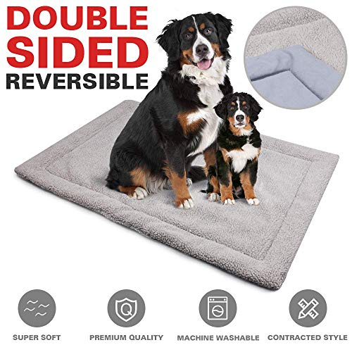 Allisandro Dog Bed Mat Crate Pad | Durable Pet Beds Soft Dog Mattress | Anti-Slip Kennel Pads for Dogs & Cats Washable, Light Grey M:31.4x23.6