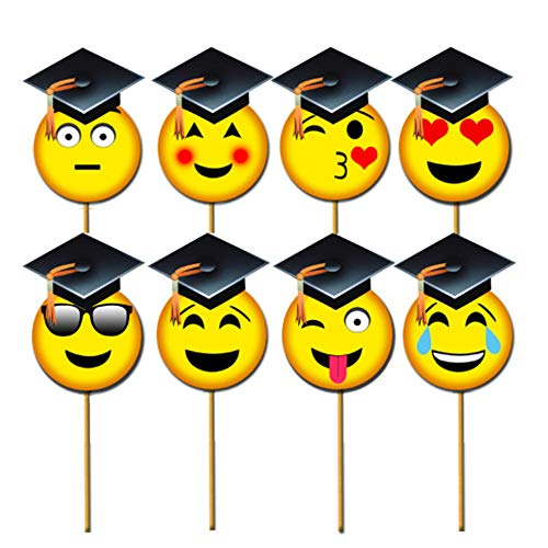 COKOHAPPY Emoji-Icon Graduation Photo Booth Props (8pcs), Photo Props Class of 2019 Grad Decor with Sticks for Kids Boy Girl, Big Size Smiley Face Kit for Graduation Party Favors Supplies -