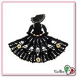 (US) Black and Gold crochet crinoline lady doily - Size: 11.8 inch x 9.4 inch H - Handmade - ITALY