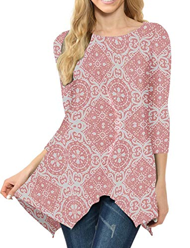MIROL Women's Spring Floral Print 3/4 Sleeve Irregular Hem Asymmetrical Tunic Loose Long Blouse Tops (XX-Large, Pink Flower)