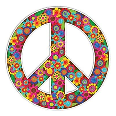 Peace Sign Sticker Flowers Colorful Hippie Decal by Megan J Designs - Laptop Window Car Vinyl Sticker: Automotive