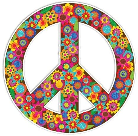 Peace Sign Sticker Flowers Colorful Hippie Decal by Megan J Designs - Laptop Window Car Vinyl Sticker