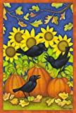 Cheap Toland Home Garden Fall Crows 28 x 40 Inch Decorative Colorful Fall Autumn Pumpkin Black Bird House Flag