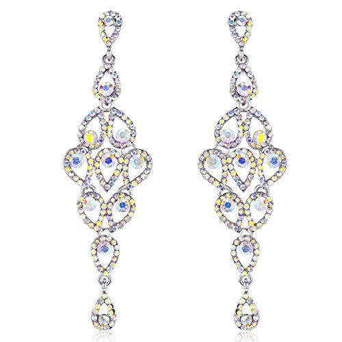 - Janefashions Drops Austrian Crystal Rhinestone Silver Chandelier Dangle Earrings Bridal E2088 5 Colors (AB White)