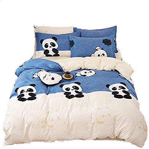 KFZ Bed Set Bedding Set Duvet Cover Flat Sheet Pillowcases No Comforter SM Twin Full Queen King Sheets Set Baby Girl Cute Panda Fashion Design for Kids (Cute Panda, Pink, Twin, 58