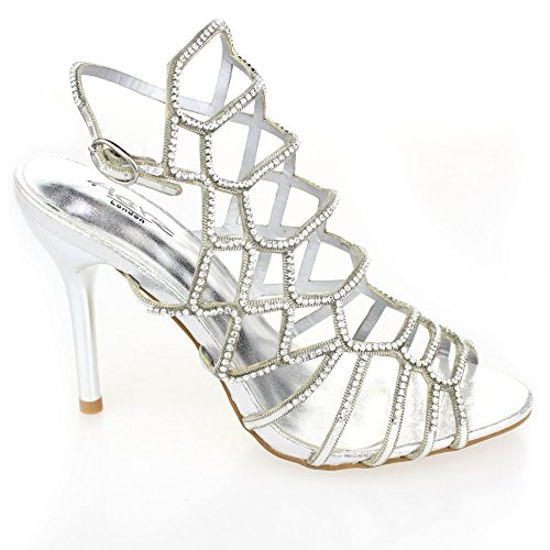 Aarz de las señoras de la boda que iguala Prom Party del tacón alto de la sandalia Diamante Nupcial tamaño de los zapatos (Oro, Plata, Negro, Rosa) Plata