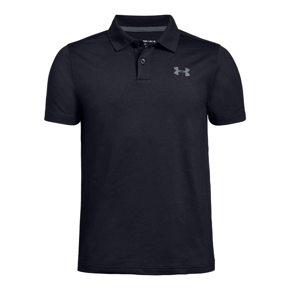 Under Armour boys Performance 2.0 Golf Polo, Black (001)/Pitch Gray, Youth X-Small