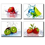 Kitchen Pictures Wall Decor, 4 Piece Set Colorful Fruits and Ices Canvas Wall Art, Cool Summer Canvas Prints for Dining Room (Water Proof Artwork, Bracket Mounted Ready Hanging, 1'' Thick)