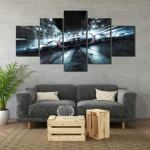 (WSJXY 5 Canvas Paintings 5 Piece HD Luxury Sports Car Pictures Race Driver Paintings Video Game Poster Wall Canvas Art for Home Decoration)