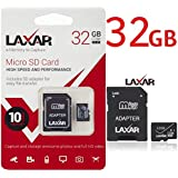 LAXTEK Ultra Micro SD TF Memory Card Class 10 with Micro SD to SD Adapter High Performance SD Card - Full HD & 4K Photos & Video Storage (32GB)